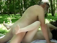 Slumdog bearded grandpa fucking nubile in the forest