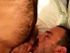 Mature hetero bear face cum drenched