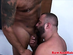 Superchub barebacking suspended bear in group