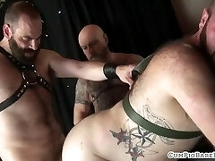 Chubby hairy man slammed from behind by hunk