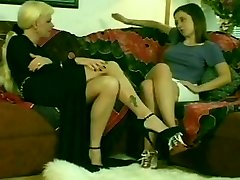 Super-steamy Blonde Shemale & Hot Teen Black-haired Girl