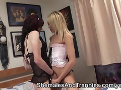 Shemales rim and fuck each other
