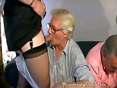 Teenie with 2 old studs and a mature crossdresser