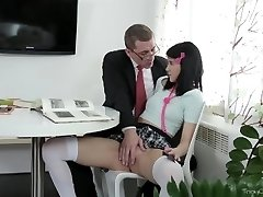 Tricky Old Tutor - Tricky aged teacher shows Esenia how a pussy