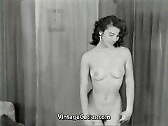 Nude Dark Haired Teases with Ideal Body (1950s Vintage)
