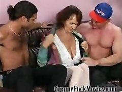 Granny with firm tits plowing two