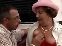 Ultra-kinky Brunette Grandma Fucked on the floor