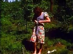 Retro - Girl milks outdoor