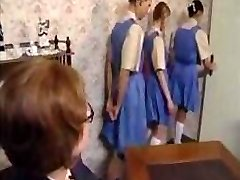 Naughty schoolgirls line up for their bootie spanking punishment