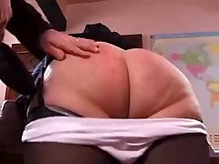 Naughty granny gets her booty spanked rigid