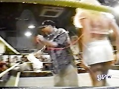 Jasmin St. Claire taking on Georgeous george in a boulder-holder and underpants match wwe