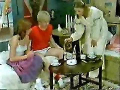 Brother's pal and girlfriend playing to the doctor when mom  comes-Retro