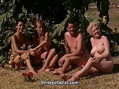 Naked Girls Having Fun at a Naturist Resort (1960s Vintage)