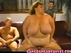 Gangbang Archive Vintage Plumper MILF slut gangbanging party