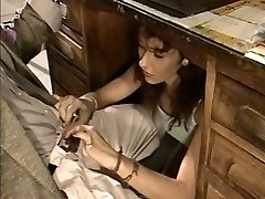 Slutty secretary gives her manager a deep throat under the table