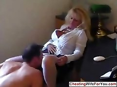 Mature hot secretary swallow jizz