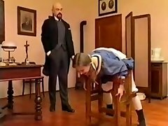 Bald teacher spank young schoolgirl
