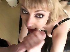 Chesty blonde an grubby throat face fuck swallow