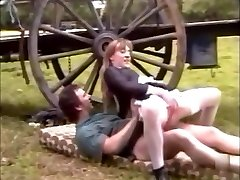 French maid in stockings fucks on a farm with gigantic cum-shot