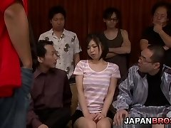 Yuuka Tsubasa in a huge gang-fuck drinks cum from a glass