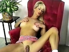 HOT Huge-chested Blonde Striptease and Fingering 2016