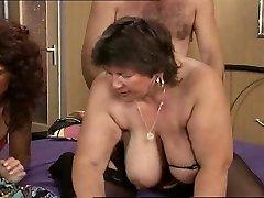 Granny with big saggy tits gets it