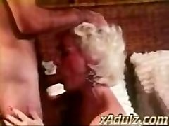 Retro Grey Haired Grandmother Gives Sensual Deepthroat and Jug Job