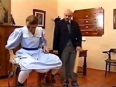European vintage spanking scene with a teen brunette