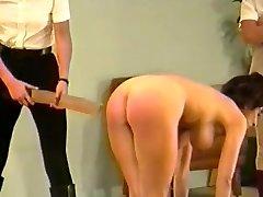 2 dommes spank & strap busty damsel (Part 3)