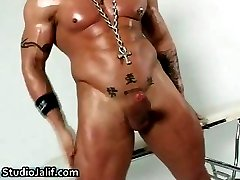 Muscled gay hunk Rob Diesel jerking part3