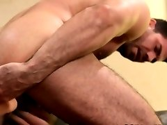 Bear cums after jerking off with toy in ass