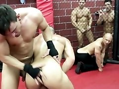 Athletic muscle hunks riding hard cock