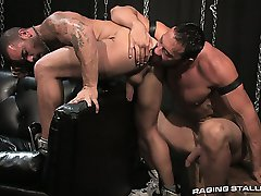 horny smoking hunk and big muscled guy fucking piledriver