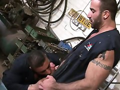 Muscular auto shop workers sucking dick