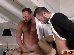 Muscle gay threesome with jizz shot