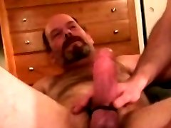 Hairy redneck dude has deep throat