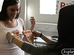 Babe used pizza as bikini eaten by stud and earned money