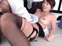 Jap super-fucking-hot school teacher knocker sucked and cunt tickled at work