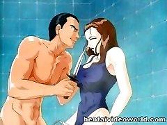 Showering anime girl gets wielded
