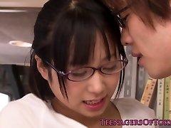 Innocent asian firsttimer geek boning in glasses