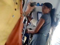 Sri lankan Lovely office girl caboose in bus