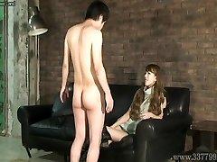 CFNM Japanese femdom Ruri like to watch a young naked stud ma