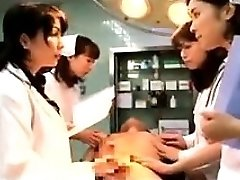 Lewd Japanese doctors putting their hands to work on a t