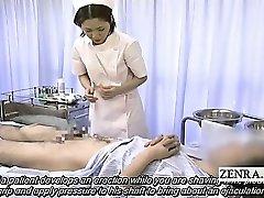 Subtitled medical CFNM handjob cum shot with Japan nurse