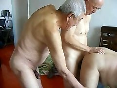 Two grandpas fuck grandpa
