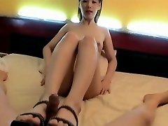 Korean Damsel foot insert. Suck & Fuck, Face jism