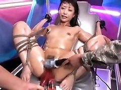 Bound Asian slut gets stimulated by toys to ejaculation