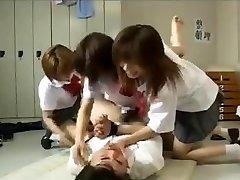 Strapon gang-fuck by 3 asian schoolgirls