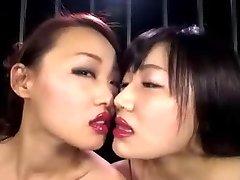 Asian Lesbian Lipstick Kiss II