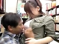 Cute girl with ideal tits and ass offers an elder man a n